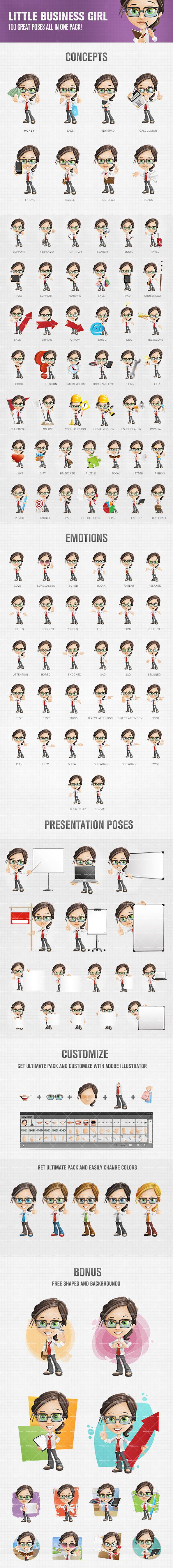 Little business girl cartoon character assembled in a set of 100 colorful poses. Any of them could suit well to a whole bunch of commercial or personal projects. We assure you that this charming little lady will help you to make them more attractive and memorable. Continue reading →