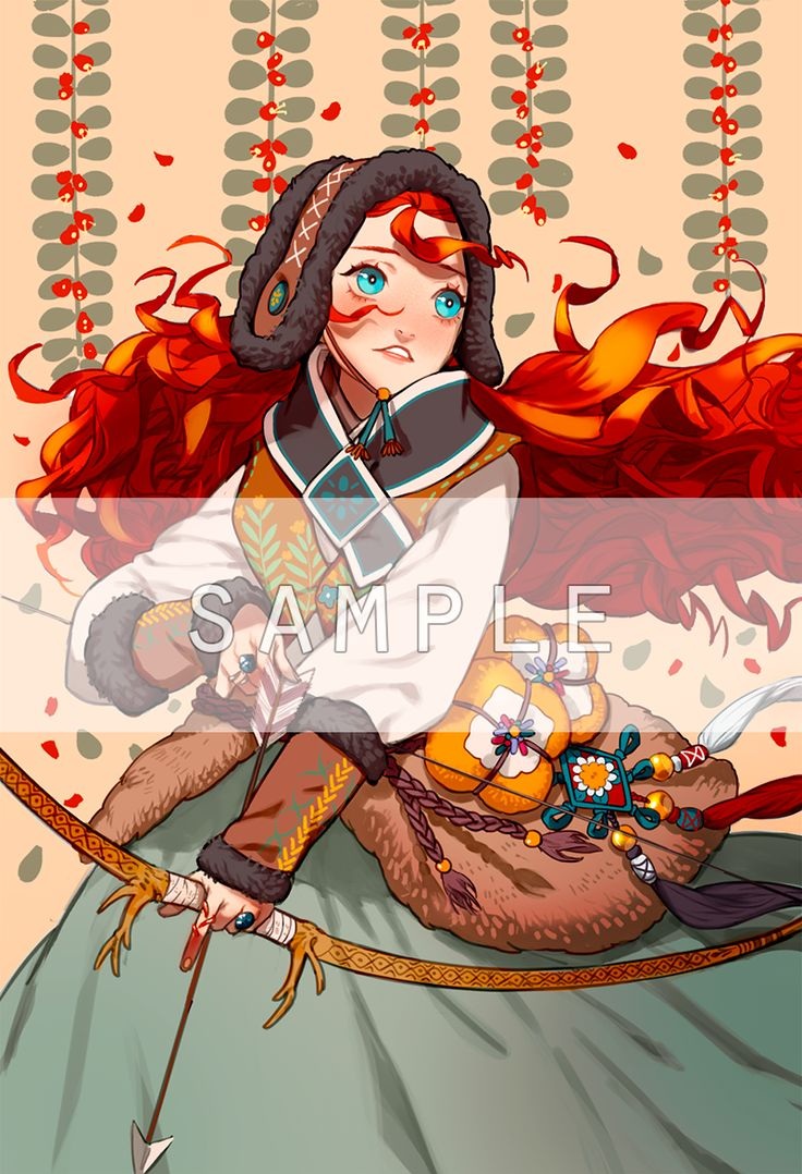 "Disney and Dreamworks Characters in Korean Hanbok - Merida from ""Brave"" - Art by Byajae"