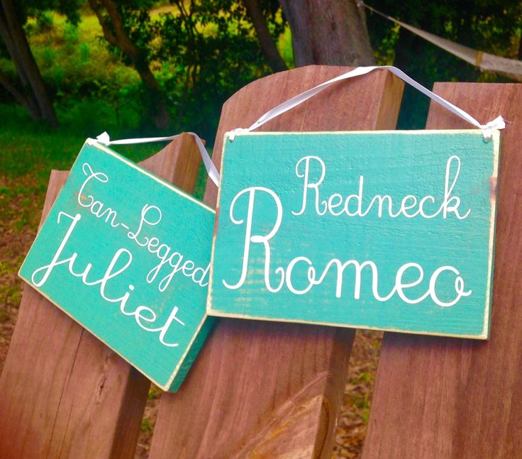 HIS HERS Redneck Romeo Tan Leg Juliet 8x6 (Choose Color) Rustic Shabby Chic Country Western Signs (Set of 2) by designsbyprim on Etsy https://www.etsy.com/listing/231653647/his-hers-redneck-romeo-tan-leg-juliet
