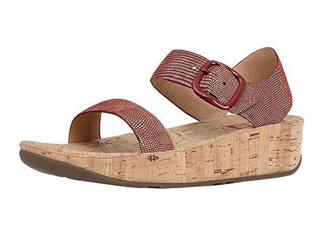 #FitFlop Fitness Schuhe - Korksandale mit silberner Eidechsenmusterung, Schnalle und Fersenriemen, rosérot.