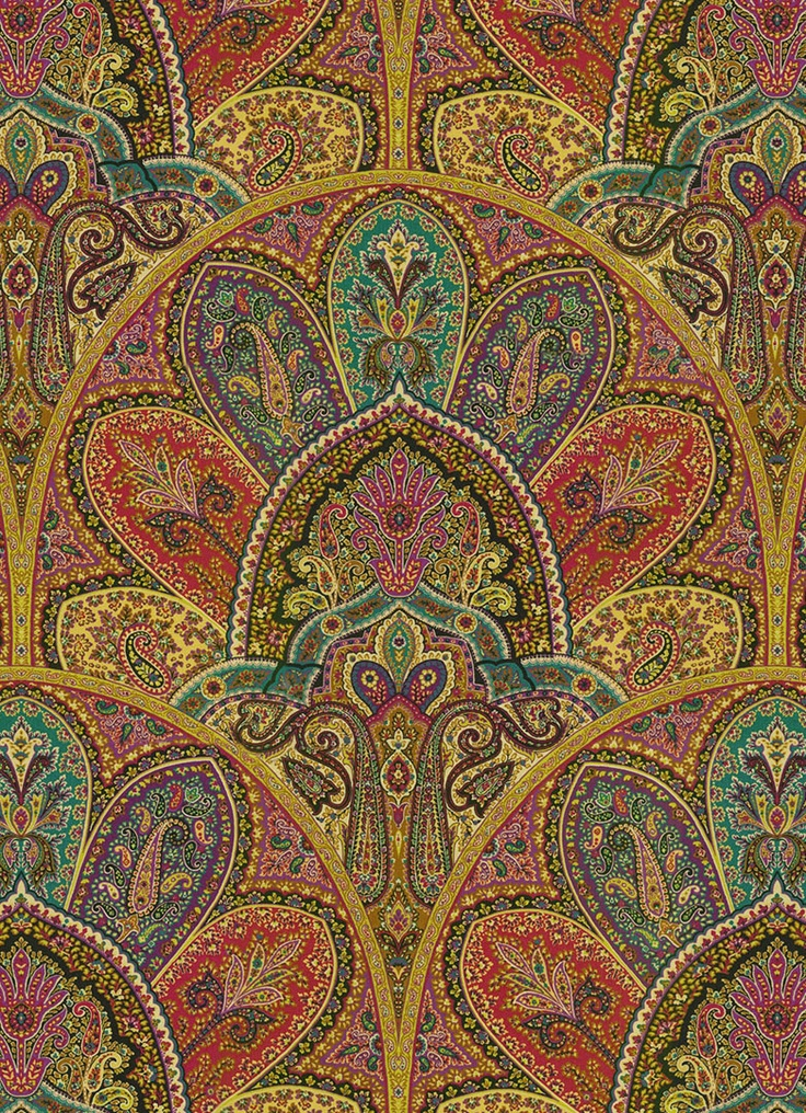 "Zulaika in Tourmaline by Iman Home Fabrics - $34.99/yd - jewel tone paisley fabric - vertical repeat 25.25"", 54"" wide"