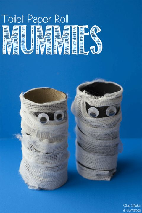 Paint toilet paper rolls black and roll them in gauze. Once created, these mummies can stand wherever they're placed for a little fear factor wherever you go. Get the tutorial at Glue Sticks & Gumdrops.