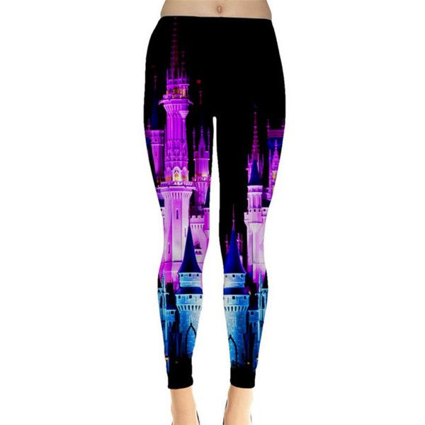 Cinderella Castle Nighttime Inspired Leggings ($35) ❤ liked on Polyvore featuring pants, leggings, grey, women's clothing, grey pants, grey trousers, gray leggings, gray pants and legging pants