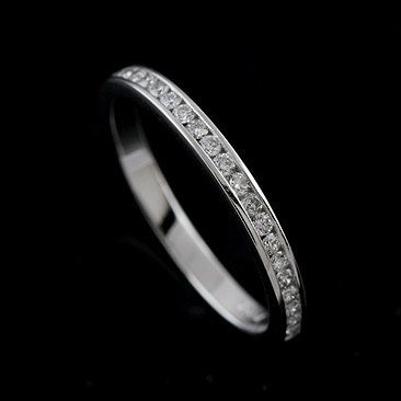 Diamond Channel Set Half Way 14k White Gold Wedding by OroSpot, $799.00