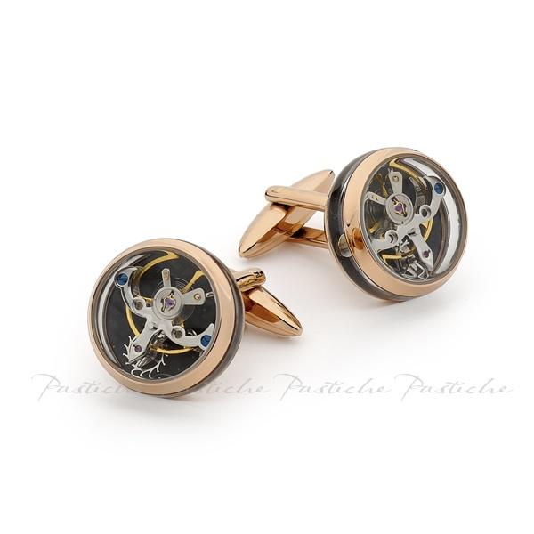 Men's Pastiche clock cufflink in IP rose gold steel