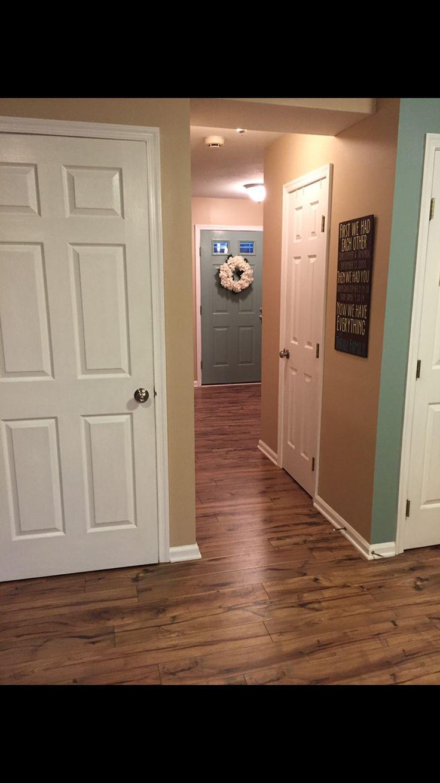 Pergo max laminate floors, providence hickory, our home hallway