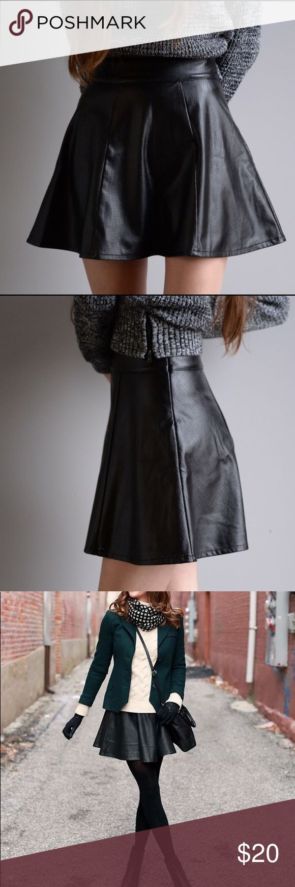 Leather Skater Skirt Super cute a-line faux leather skirt. Perfect for a night out or pair it with black tights,  a cardi & boots on a cold day. Very versatile. Features tiny perforated holes for a nice touch of character.  In perfect condition.  Size is XS/2 Nordstrom Skirts Circle & Skater