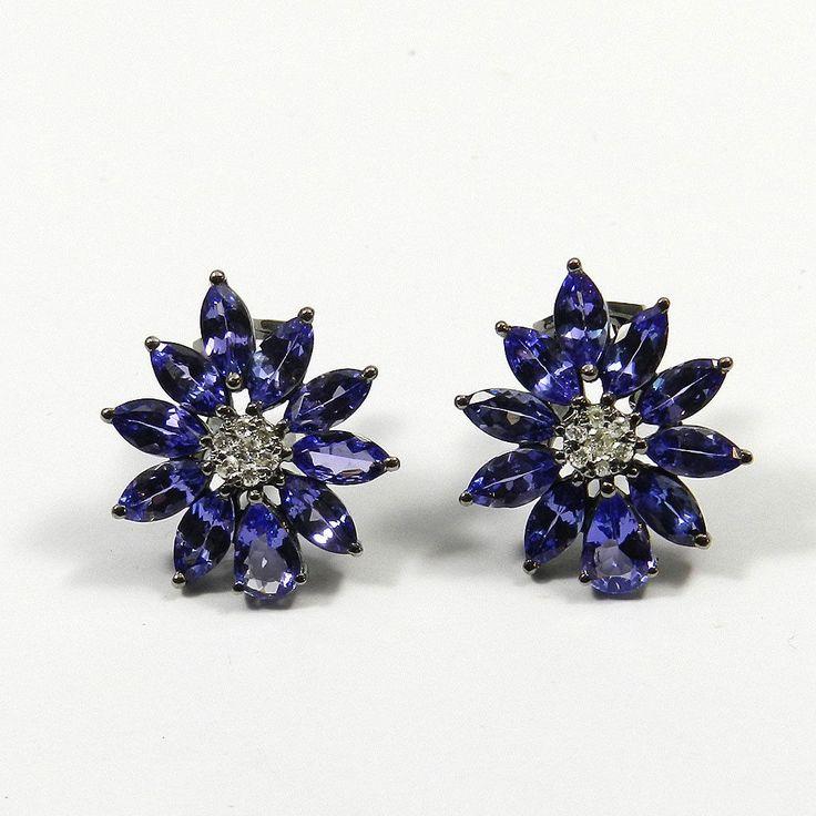 Edle Tansanit & Diamanten Ohrringe Clip-Stecker 750 Gold rhodiniert Earrings | eBay