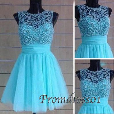 2015 new design round neck blue tulle short prom dress for teens, It's only $172.99 on #promdress01 www.promdress01.com
