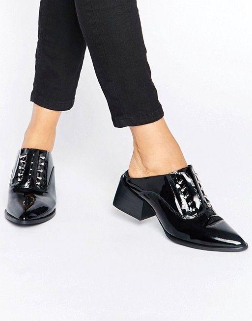 Sol Sana   Sol Sana Claire Bar Black Patent Leather Mules