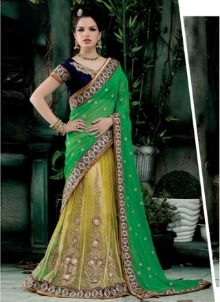Fabulose Green And Yellow Georgette Net Embroidery Work Lehenga Saree