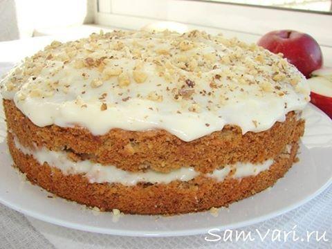 Яблочный #торт Великолепный домашний #яблочный торт с орехами. Яблоки делают торт влажным и придают кислинку, а орехи дополняют аромат и делают воздушной структуру коржей. Ароматный, #влажный, #вкусный и очень простой в приготовлении #тортик для семейного чаепития.  Ингредиенты:  мука - 190 гр.; #орехи грецкие - 100 гр. ;  #яблоки - 200 гр. ;  масло растительное - 100 мл. ;  яйцо - 2 шт.; сахар - 150 гр. ;  сода - 0,3 ч. ложки ;  разрыхлитель для теста - 1 ч. ложка ;  соль - щепотка;  корица…