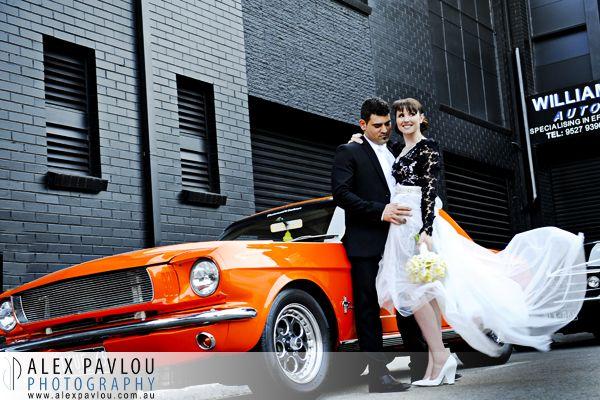 Melbourne weddings  - Red Scooter unique wedding venue Melbourne - Orange Mustang - Photography by Con Tsioukis of Alex Pavlou Photography - www.alexpavlou.com.au
