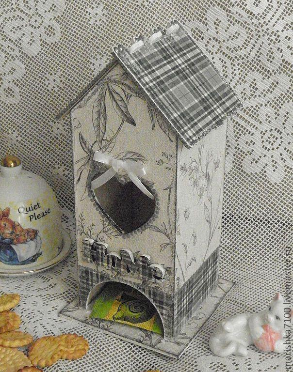 """Купить Чайный домик """"Гобелен"""" - серый, декупаж работы, кухонная утварь, чайный домик, Декупаж"""