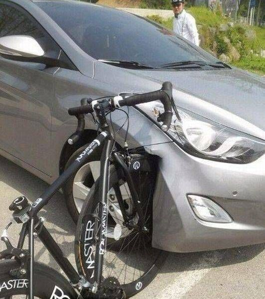 Horrible Accident Between A Bicycle And A Car The Bike Is Fine