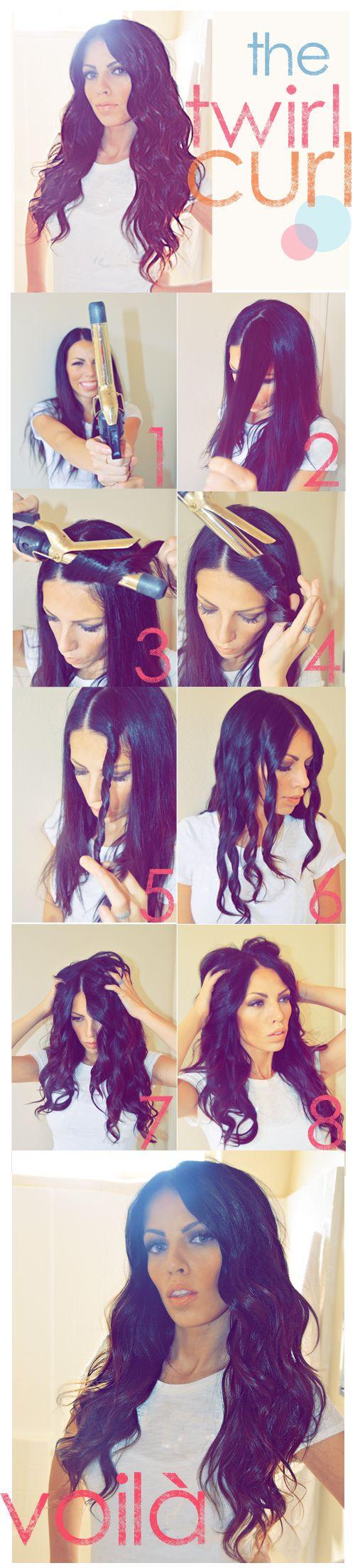 Twirl Curl Tutorial I'm gonna have to try this (what a silly look on her face trying to be sultry!)