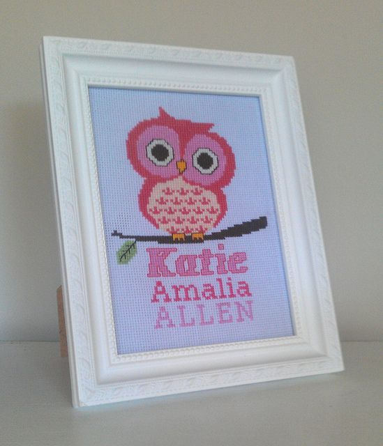 CROSS STITCH - Owl & name for baby girl, Mar 2013 by Erin @ Missy Mac Creations, via Flickr