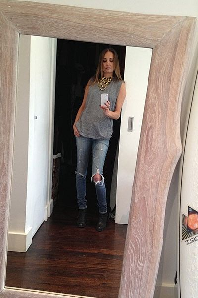 """""""Going casual today! Wearing vintage gold & leather Chanel necklace, WORK OUT LIFE grey marle tank, Chrissy L gold bracelet, Citizens Of Humanity jeans, Acne Pistol boots."""""""