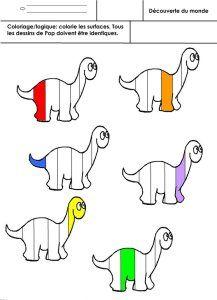 dinosaures, coloriage Pop /logique