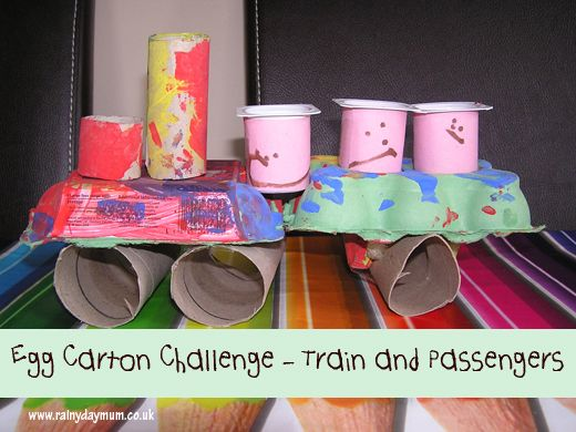 Trash train. Let's set out tp rolls, egg cartons and paint and see what the kids create. No examples, just imagination!