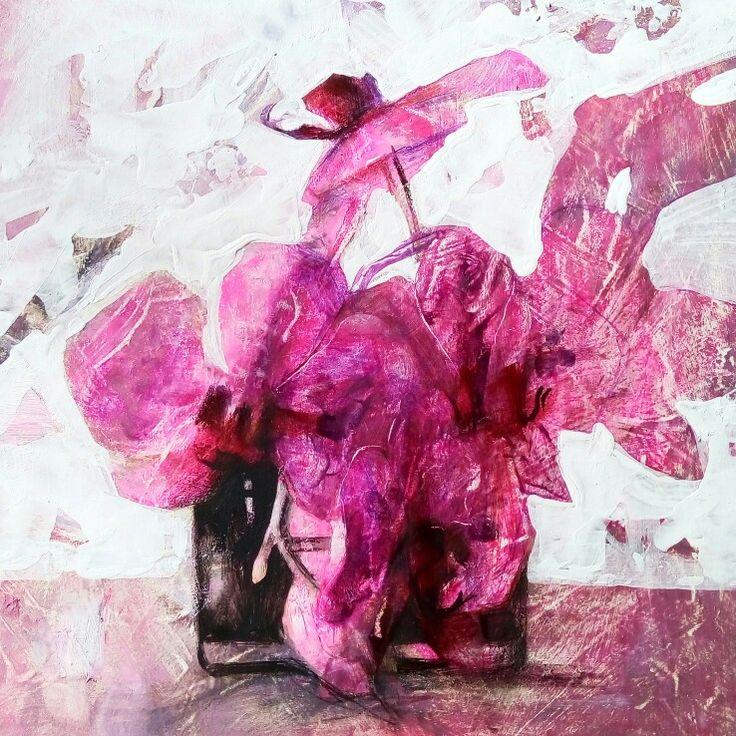 Pink dinosaur. Oil sketch by Natalie Derevyanko