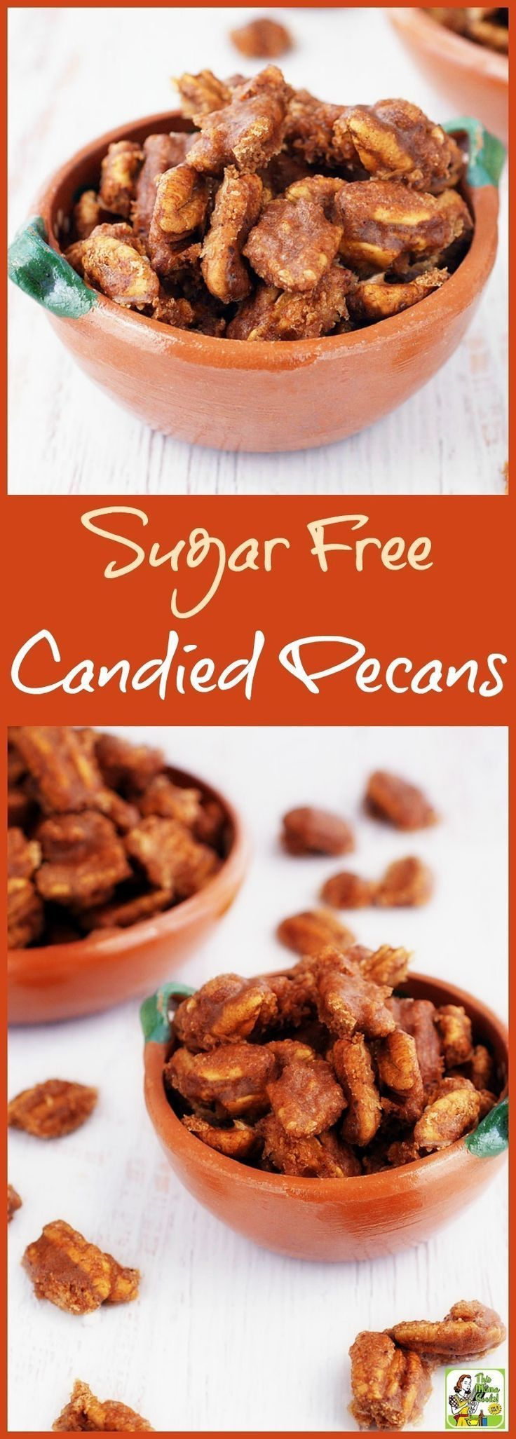 This easy Sugar Free Candied Pecans recipe makes a wonderful homemade gift. You can also use the sugar free candied pecans in salads, in baking, on yogurt, and in granola and trail mix. It's made with natural, no calorie sweeteners for a guilt free candie