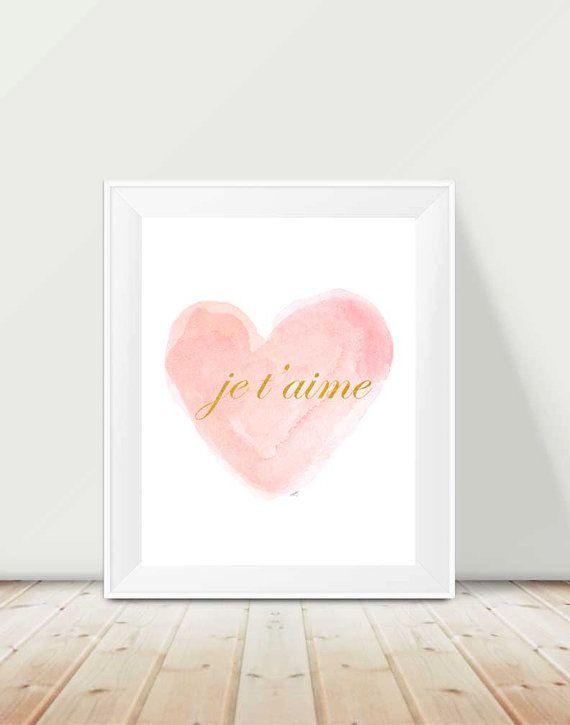 Blush and Gold Nursery, 11x14 Watercolor Heart, Je t'aime, Blush and Gold Nursery Decor, I Love You Print, French Art, Blush Nursery Artwork
