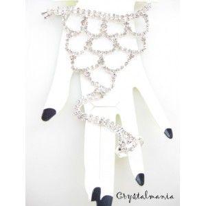 Pulsera y anillo con cristal plateado estilo 5821 - Crystamania venta de bisuteria por mayoreo