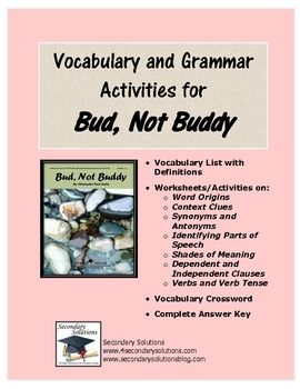 Printables Bud Not Buddy Worksheets 1000 images about bud not buddy on pinterest activities study complete collection of vocabulary and grammar activitiesworksheets for use with buddy