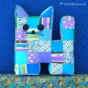 Patchwork kitten stuffy. Pattern by La Todera also includes Large cat pillow size.