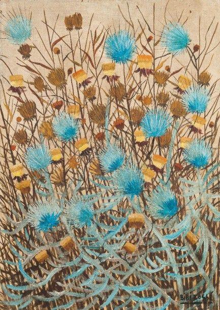 Bibi ZOGBE (1890-1973)  Chardons, vers 1949  Isorel  Signé en bas à droite  Insciption au dos : «cardos por Bibi ZOGBE, BS Aires Mayo-8-49»  105 x 75 cm  Petits sauts de peinture