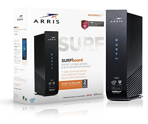 ARRIS SURFboard DOCSIS 2 This is Cable Modem and Wi-FI Router. 802.11AC Wi-Fi Router provides speeds up to 1900 Mbps. Dual-band concurrent 2.4GHz and 5GHz Works with Comcast, Time Warner, Cox, Bright House Networks and with major U.S. Cable Providers. Pending charter. Requires cable Internet Service, if not sure your provider is cable call them to confirm Internet speeds up to 686 Mbps Download and 131 Mbps Upload based on your cable ISP subscription. Gigabit Ethernet port to
