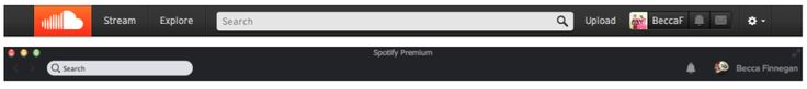 Soundcloud and Spotify's nav bars
