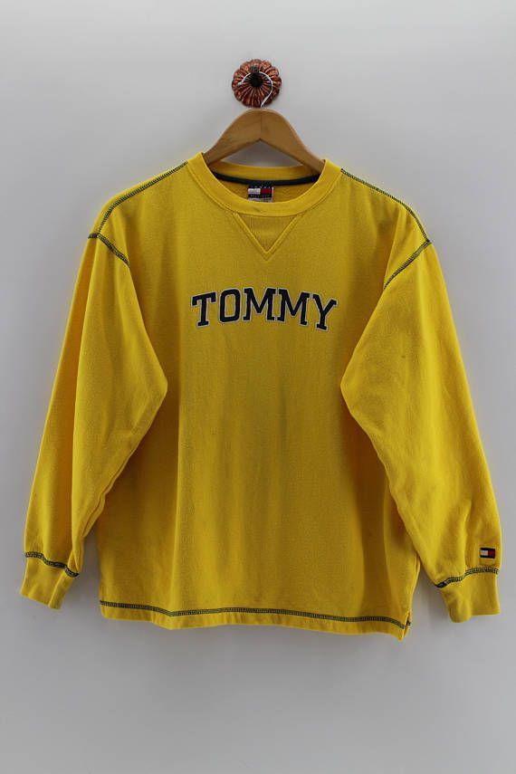 0178c251e5c5 TOMMY HILFIGER Sweatshirt Unisex Medium Vintage 90 s Tommy Hilfiger Usa  Streetwear Pullover Sweater Tommy Sportswear Yellow Jumper Size M