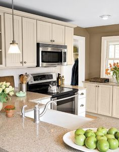white kitchen cabinets with Silestone bamboo countertop - Google Search | 2015 Mother's Suite t | Tan Kitchen Walls, Tan Kitchen and White Kitchen Ca…