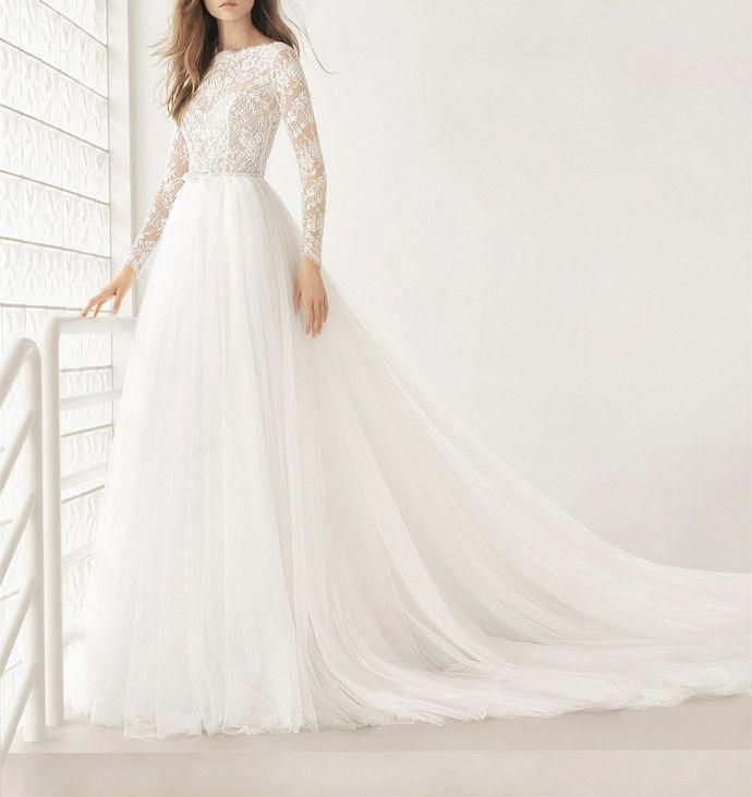Romantic White Wedding Dress Strapless Bridal Dress Sleeveless Simple Style Wedding Gown Long Sleeve Wedding Dress Lace Long Sleeve Bridal Dresses Wedding Dress Long Sleeve,Short Royal Blue Dress For Wedding Guest