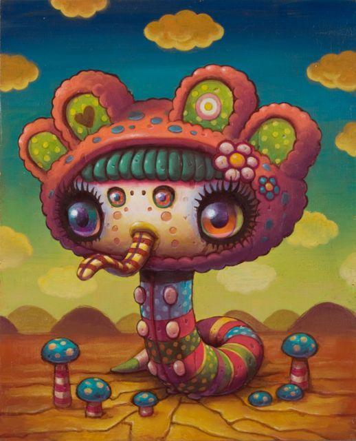 A striped tongue. So fashionable! (Painting by Yoko D'Holbachie.): Dholbachi Art, Art Inspiration, D Holbachi Art, Art Prints, Yoko Dholbachi, Youko Dholbachi, Art Attack, Art Yoko D Holbachi, Yoko D'Holbachi