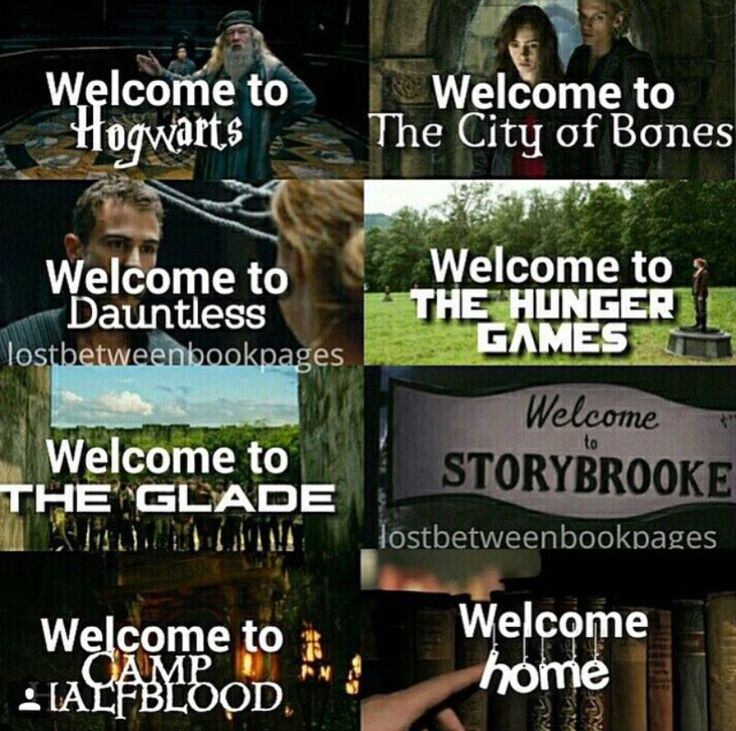 Harry Potter - Hogwarts | TMI - The City of Bones | Divergent - Dauntless | The Hunger Games | The Maze Runner - The Glade | Storybrooke | Percy Jackson - Camp Halfblood | Fandoms