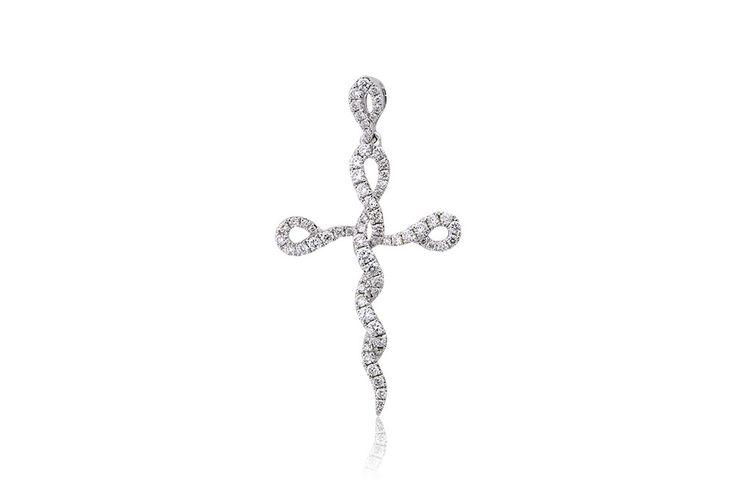 Σταυρός με διαμάντια μπριγιάν κοπής 0,72CT από λευκόχρυσο 18Κ. Cross with brilliant cut diamonds 0,72CT made by 18K white gold Price : 1000 €