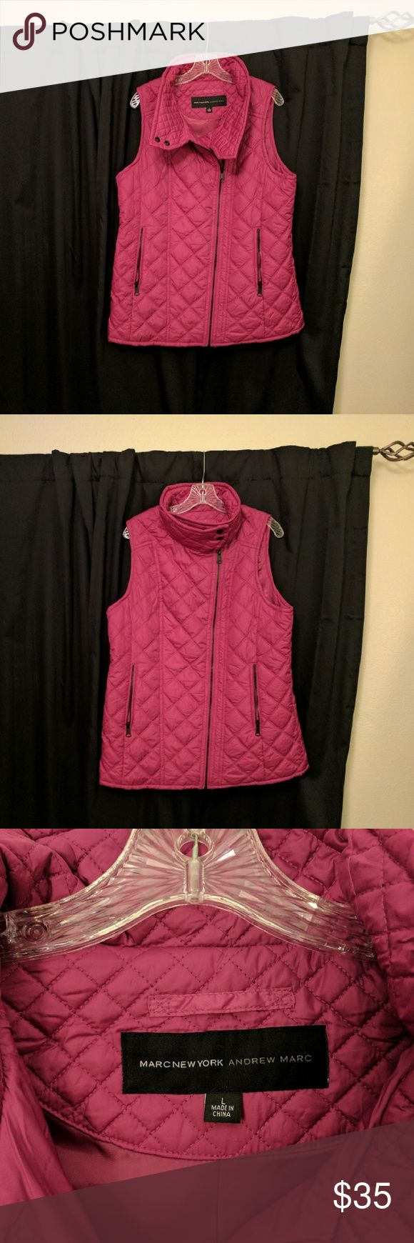 Andrew Marc Puffer Vest Super cute pink/berry-colored Andrew Marc asymmetrical quilted puffer vest. Andrew Marc Jackets & Coats Vests