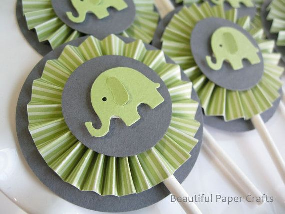 Green and Gray Baby Elephant Cupcake by BeautifulPaperCrafts, $14.00