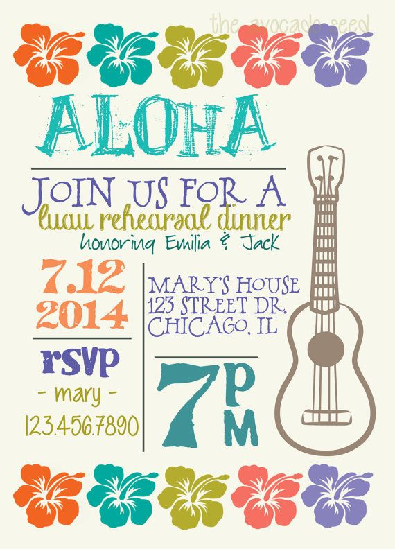 Luau Hawaiian Wedding Shower / Rehearsal / Any Event Invite