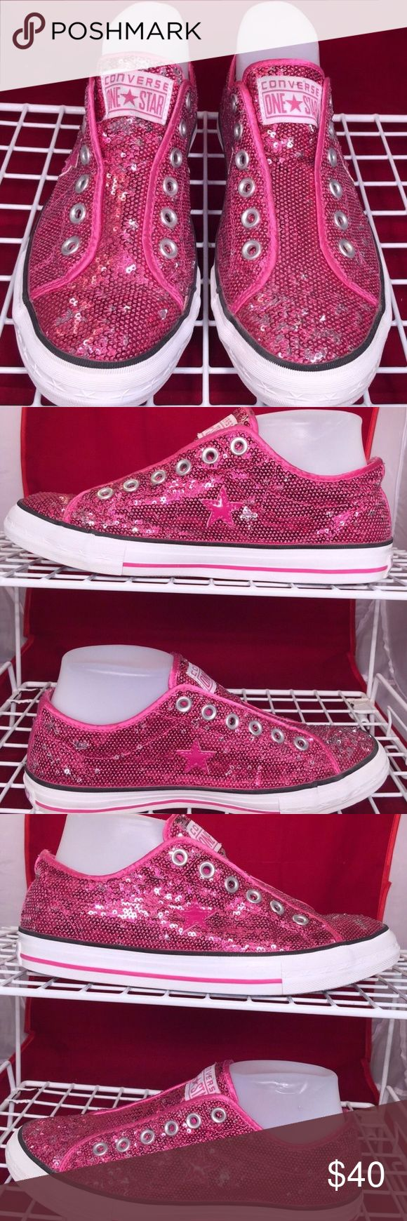 Pink Sequin Glitter All Star Converse!!! Beautiful pink sequin glitter All Star Converse.  I have only wore them one time to my in-laws house for about 2 hours.  They are in absolute perfect condition.  There were a limited addition release shoe.  I paid $139.99 when I bought them at the mall. I didn't try them on thinking that they would fit like all other converse but they run true to size and I am a size 9 and they are an 8.5.  My loss is your gain!!!  TAKING OFFERS ON EVERYTHING IN MY…