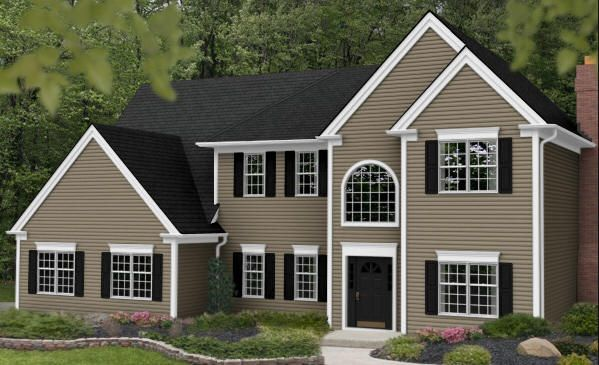 Vinyl Siding Color Tuscan Clay White Trim Dark Gray Roof Houses House Colors Exterior