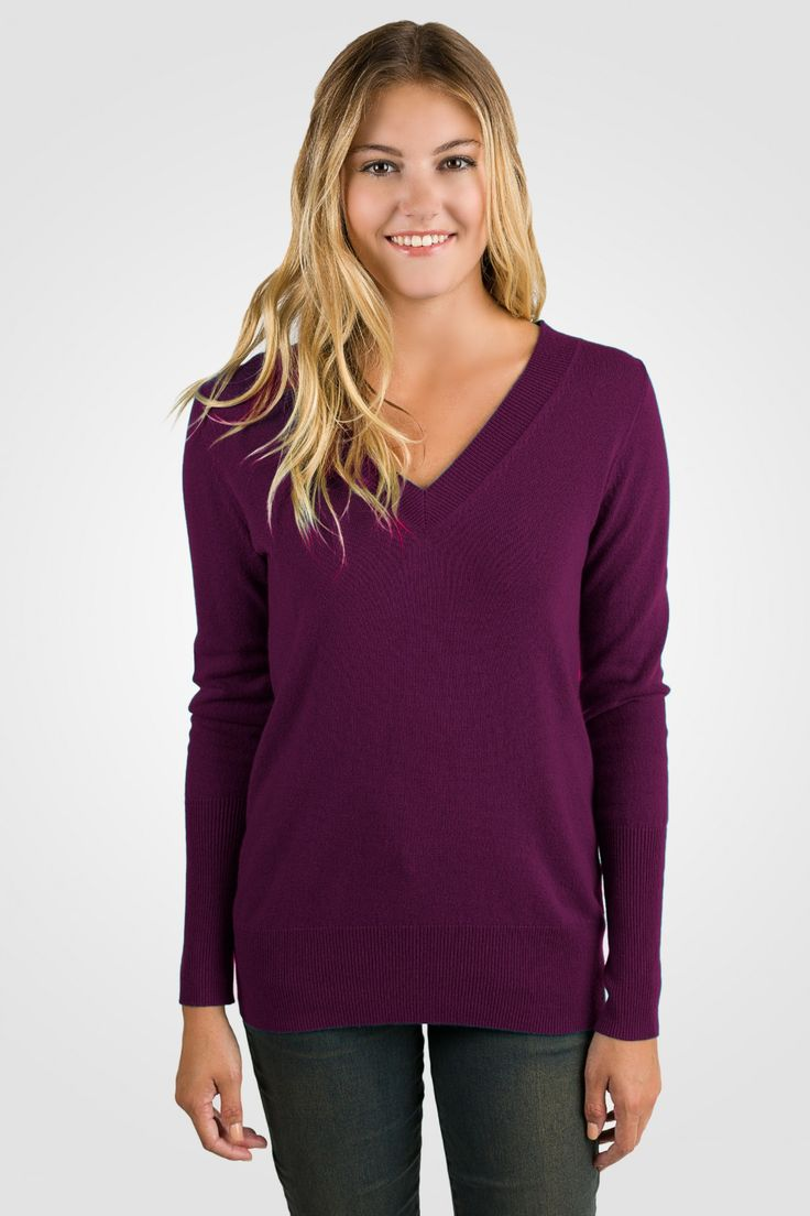 Plum Cashmere Long Sleeve Ava V Neck Sweater