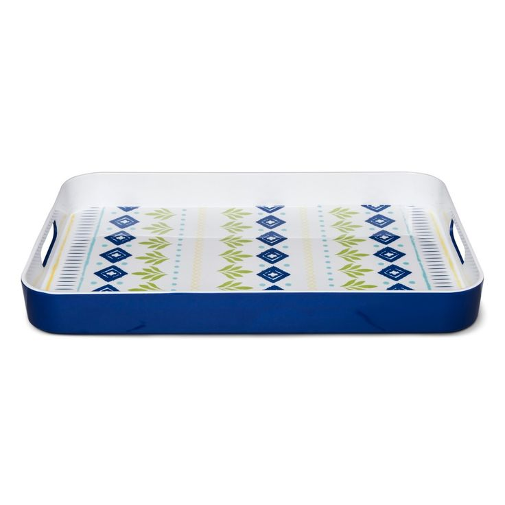 Rectangle 18.8in x 13.5in Plastic Serving Tray Blue