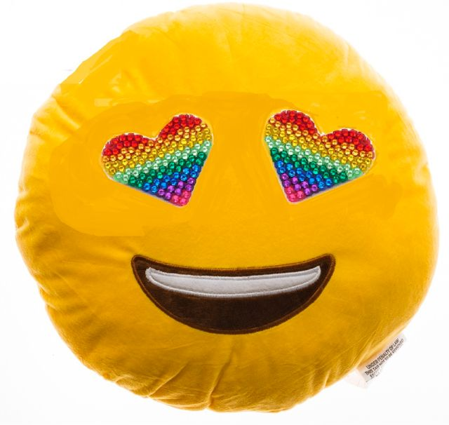 Super soft with rainbow bling, this emoji pillow is the hottest thing!