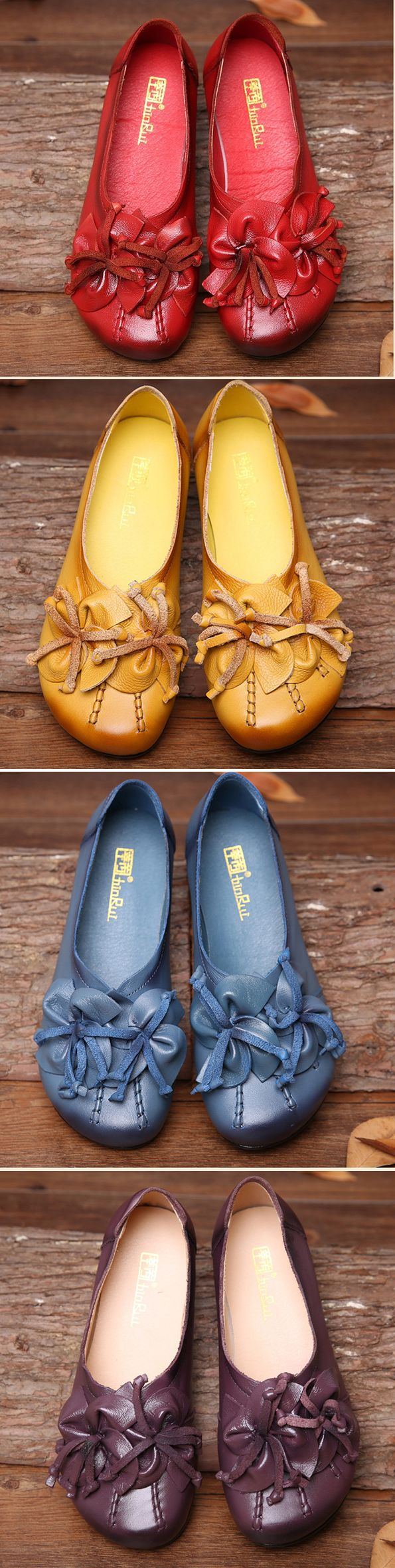 US$26.57 Socofy Flower Tassel Soft Leather Slip On Flat Casual Vintage Shoes