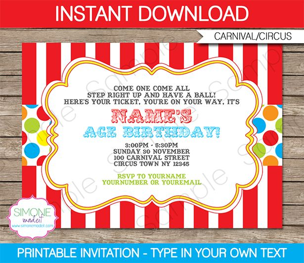 Carnival Invitation Template | Party Invitations | Circus Party | Birthday Party | Editable DIY Theme Template | INSTANT DOWNLOAD $7.50 via SIMONEmadeit.com