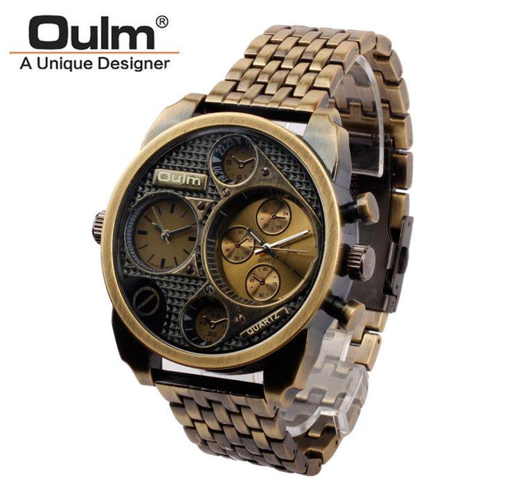 Luxury 9316 Stainless steel Oulm Watch Men Big dial Watch white case Quartz Relojes Sports Fashion Male Military Wristwatch